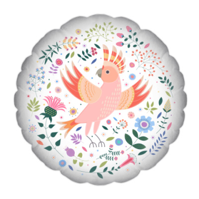 Подушка Какаду среди цветов