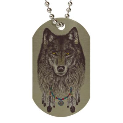 Жетон dog-tag Волк шаман