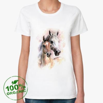 Женская футболка из органик-хлопка Лошади
