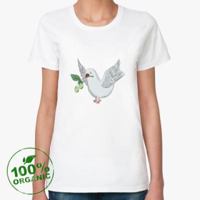 Женская футболка из органик-хлопка Голубь с оливой