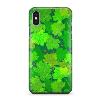 Чехол для iPhone X Листья смородины
