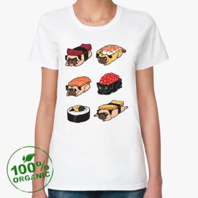 Женская футболка из органик-хлопка Суши мопс