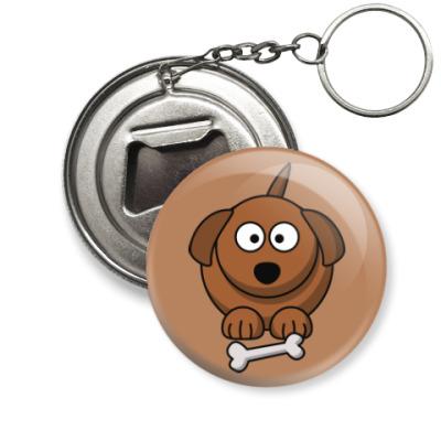 Брелок-открывашка Собачка с косточкой