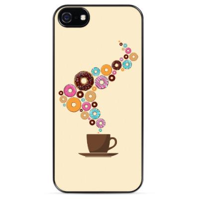 Чехол для iPhone Кофе с пончиками