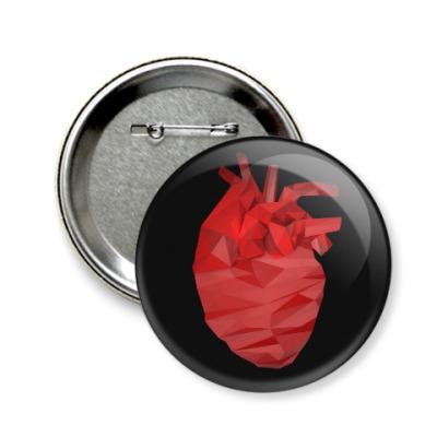 Значок 58мм Сердце 3D