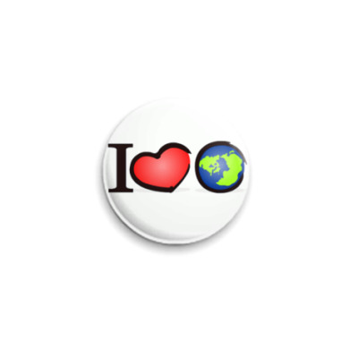 Значок 25мм I love Earth