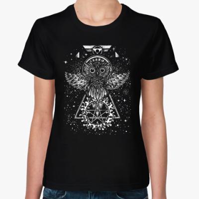 Женская футболка Сова в космосе