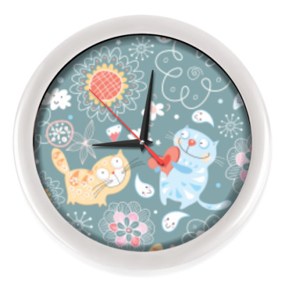 Настенные часы Saint Valentine's Day Cats