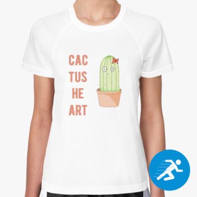 Женская спортивная футболка Сердце кактуса