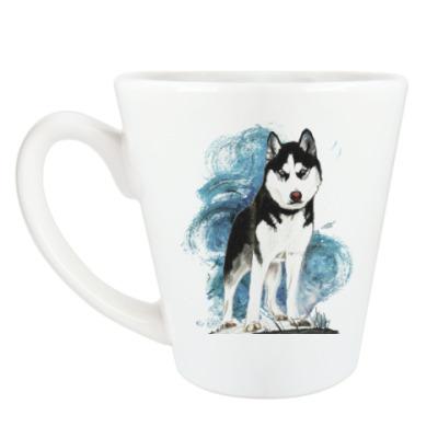 Чашка Латте Собака хаски акварель