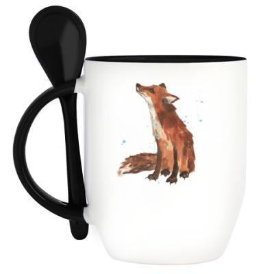 Кружка с ложкой Aquarelle Cute Fox