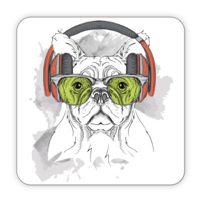 Костер (подставка под кружку) Собака в зеленых очках