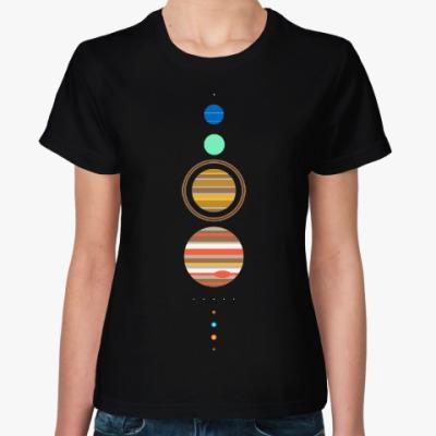 Женская футболка Солнечная система минимализм