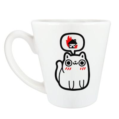Чашка Латте Котик злой