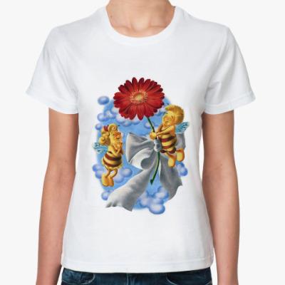 Классическая футболка Пчёлки и цветок