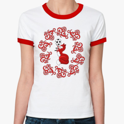 Женская футболка Ringer-T Лиса с футбольным мячиком и орнаментом