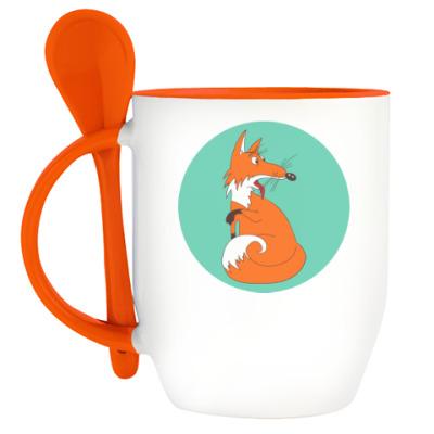 Кружка с ложкой Fanny fox