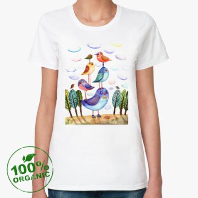 Женская футболка из органик-хлопка Акварельная иллюстрация птицы, арт