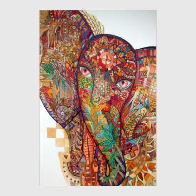 Постер слон с рунами