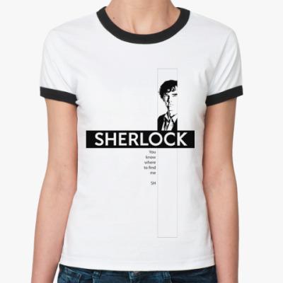 Женская футболка Ringer-T  SHERLOCK