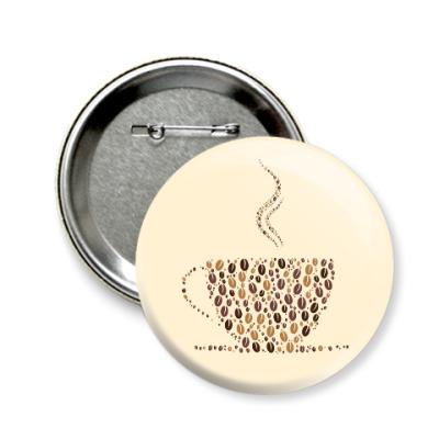 Значок 58мм Кофе из кофейных зерен