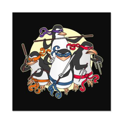 Наклейка (стикер) Пингвины ниндзя