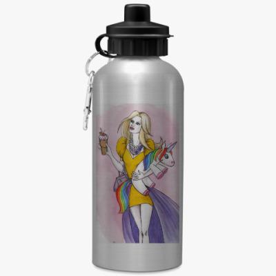 Спортивная бутылка/фляжка Девушка с единорогом