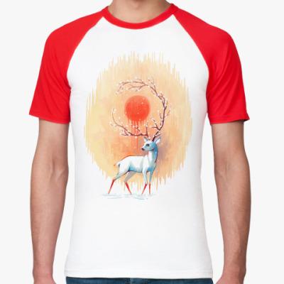 Футболка реглан Дух весны белый олень