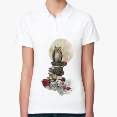 Женская рубашка поло Мудрая сова и книги