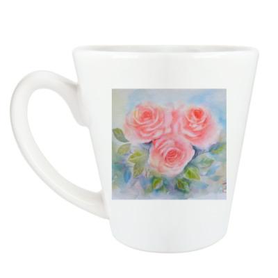 Чашка Латте Розы акварельные