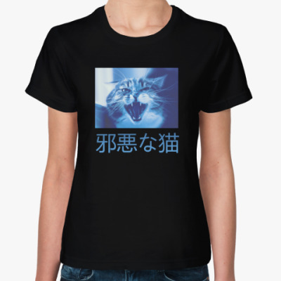 Женская футболка Сердитый котик