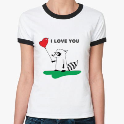 Женская футболка Ringer-T 'I LOVE YOU' с Енотом