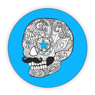 Костер (подставка под кружку) Череп с усами
