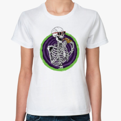 Классическая футболка Pizza Skeleton