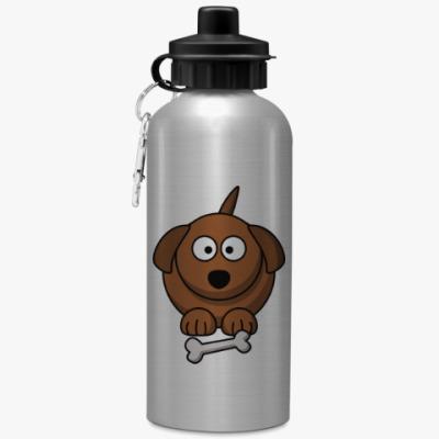 Спортивная бутылка/фляжка Собачка с косточкой