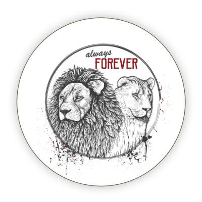 Костер (подставка под кружку) влюбленные львы