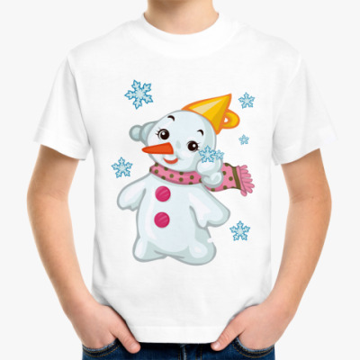 Детская футболка Снеговик и снежинки