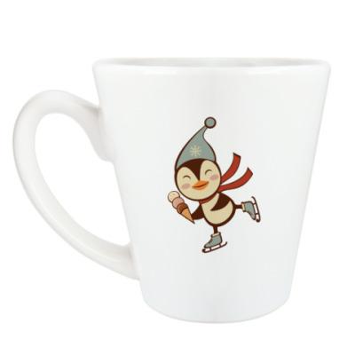 Чашка Латте Skating penguin