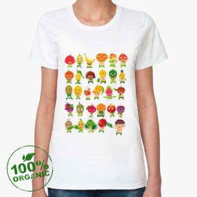 Женская футболка из органик-хлопка Фрукты, Овощи и Ягоды