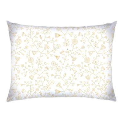 Подушка Треугольные золотые цветы