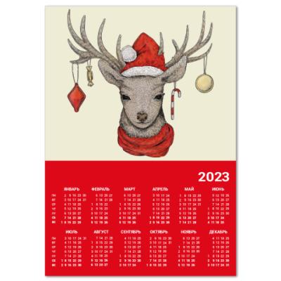 Календарь Новогодний олененок Рудольф