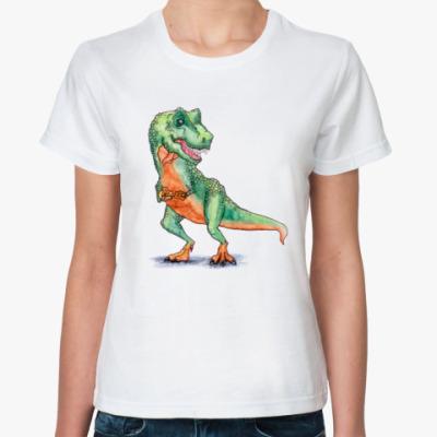 Классическая футболка Динозавр с укулеле