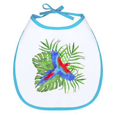 Слюнявчик тропический букет с попугаем ара