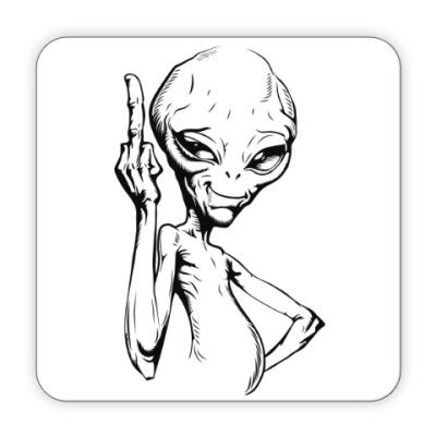 Костер (подставка под кружку) смешной пришелец (funny alien)