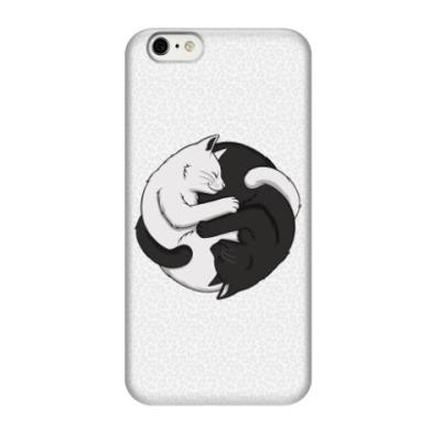 Чехол для iPhone 6/6s Черный и белый кот инь-ян