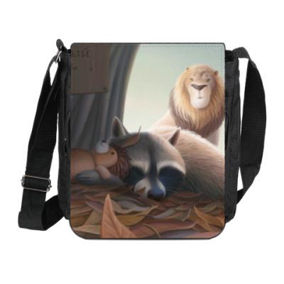 Сумка на плечо (мини-планшет) Похищение спящего енота