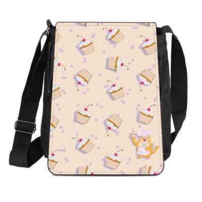Сумка-планшет  Кот кондитер и кексы с вишнями