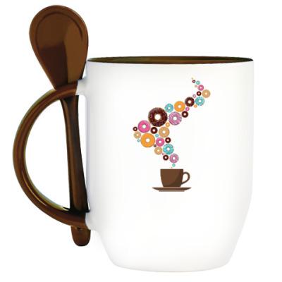 Кружка с ложкой Кофе с пончиками