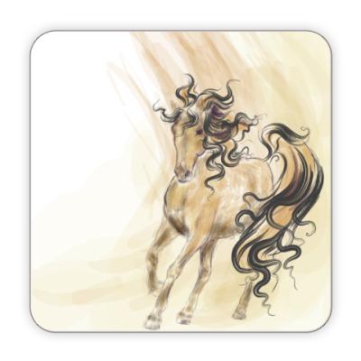 Костер (подставка под кружку) Акварельная лошадь