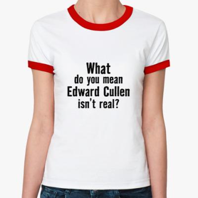 Женская футболка Ringer-T 'Эдвард Каллен существует?'